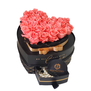 Heart Jewelry Box Pink Preserved roses