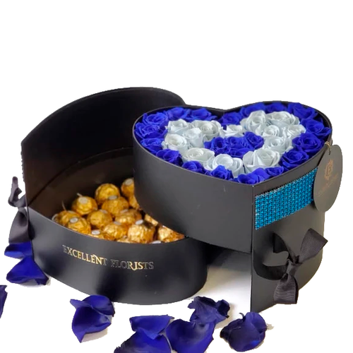 Heart Preserved  Bicolor Blue Roses with chocolates in a Two Levels Box