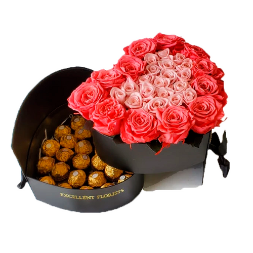 Heart Preserved Bicolor Pink Rose in a Two Levels Box