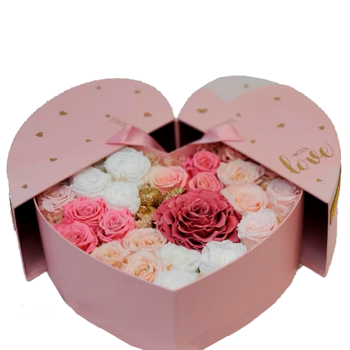 Heart Preserved Pink and White Combination Roses Box