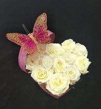 Load image into Gallery viewer, Small Heart White Chocolate color Preserved Roses