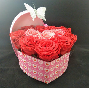 Small Heart Bicolor Preserved Roses