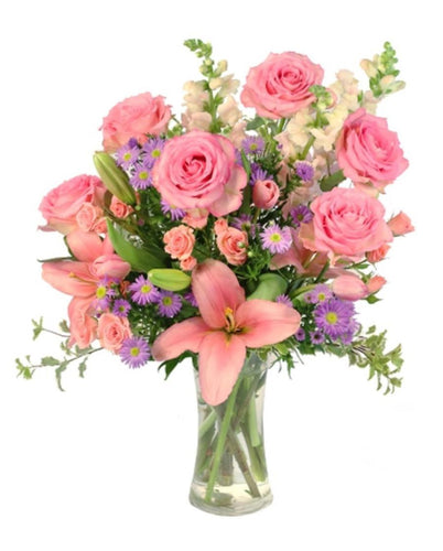 Blush Pink Rose and Flower arrangement in a vase