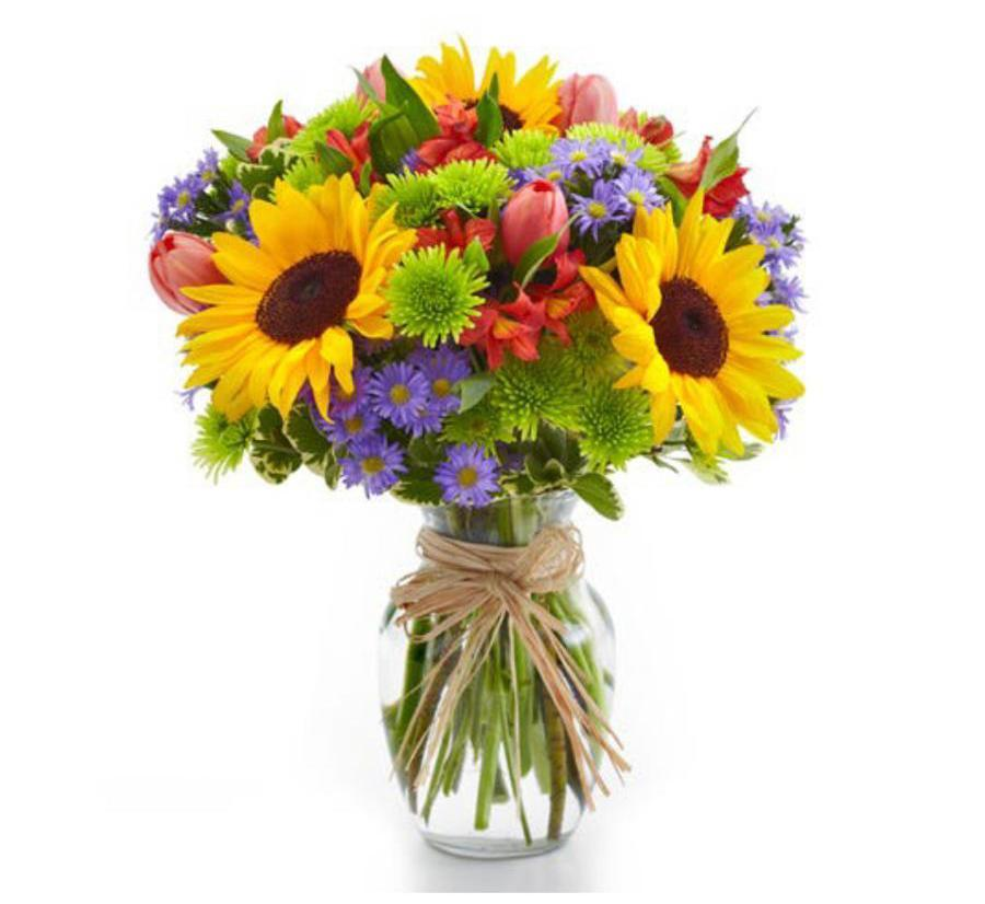 Sunflowers and multicolor flowers arrangement