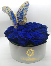 Load image into Gallery viewer, Medium Round Royal Blue Box of Preserved Roses