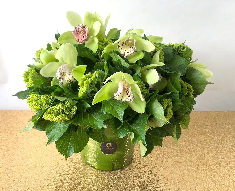 Green Cymbidium Orchid bouquet arrangement