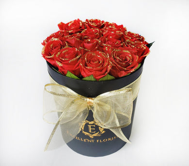 Christmas 16 Glaced Red Preserved Roses in a Round box