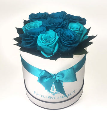 Turquoise 9 Large Preserved Roses in a Round box