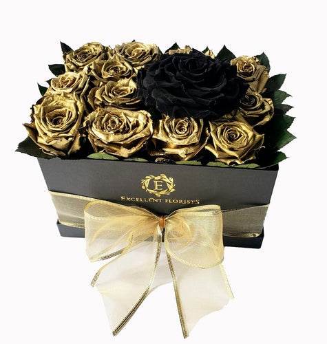 Medium Square Gold and Black Preserved Roses