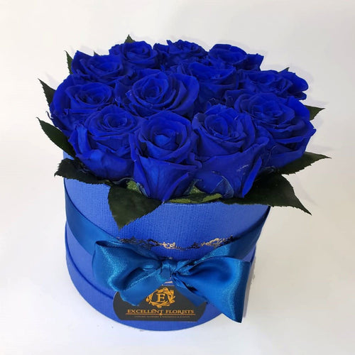 Small Royal Blue Preserved Roses 9-roses Round box