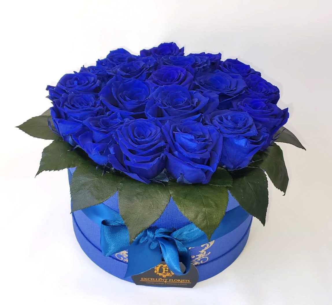 Royal Blue Preserved Roses Medium round box