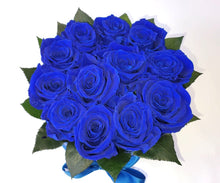 Load image into Gallery viewer, Small Royal Blue Preserved Rose .This beautiful arrangement of Excellent Flowers ETERNITY preserved roses is arranged for beauty and durability. They create a long-lasting impression which is sure to make someone a happy time and time again.