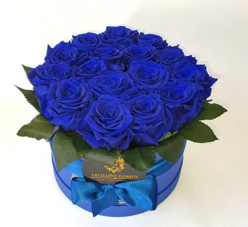 Royal Blue Roses Large round box