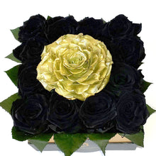 Load image into Gallery viewer, Medium Square Black and a Big Golden Roses