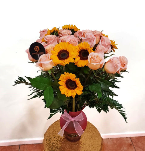 Two dozen long stem roses and Sunflowers arrangement