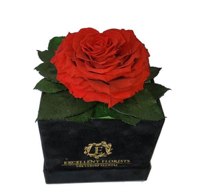Bright Red Heart shape preserved rose