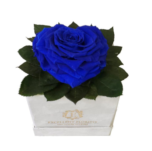 Blue Heart shape preserved rose