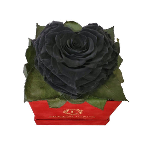 Black Heart shape preserved rose