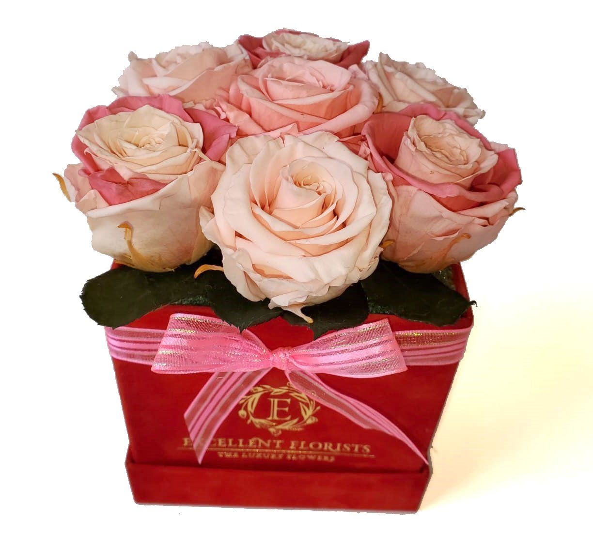 Small Square Pink Preserved Roses
