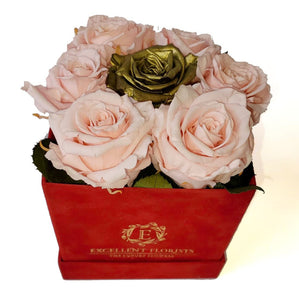Small Square Pink and Gold Preserved Roses