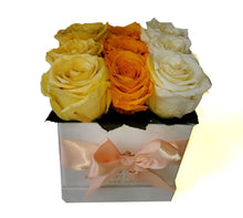 Load image into Gallery viewer, Small Square Tricolor Yellow Orange Preserved Roses