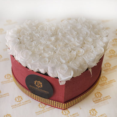 Heart White Preserved Mini Rose Box promotion