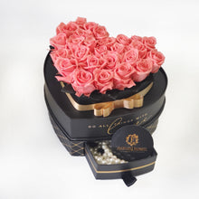 Load image into Gallery viewer, Heart Jewelry Box  Pink Preserved roses