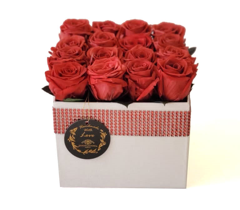 Medium Square Red Coral Preserved Roses