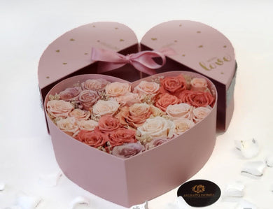 Heart Preserved Pink Combination Roses Box