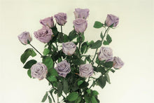 Load image into Gallery viewer, 12 LONG STEM LAVENDER  PRESERVED ROSES LUXURY BOUQUET IN GLASS VASE - Excellent Florists