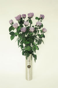 12 LONG STEM LAVENDER  PRESERVED ROSES LUXURY BOUQUET IN GLASS VASE - Excellent Florists