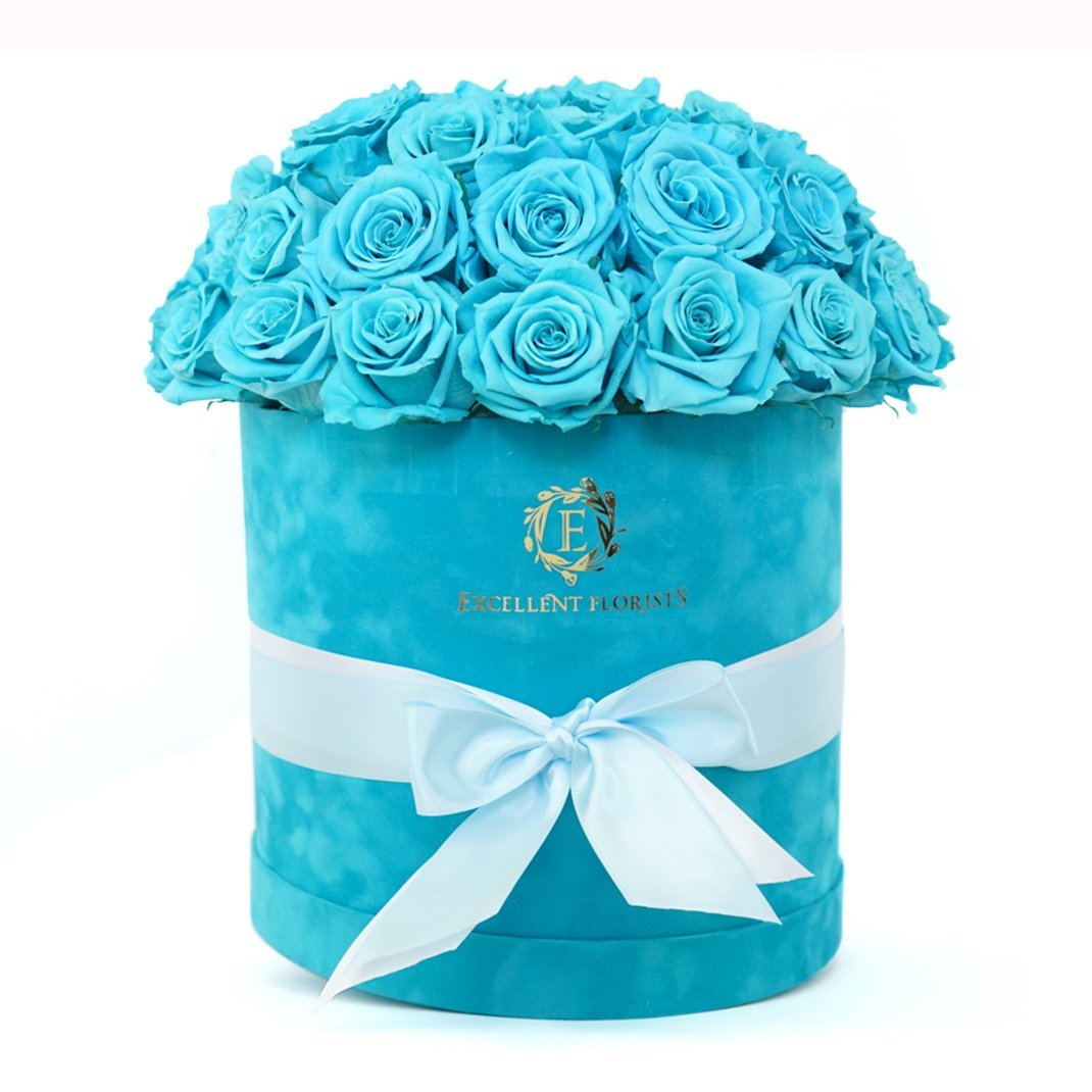 Mega Deluxe Aqua Blue (40-44 Preserved Roses) - Excellent Florists