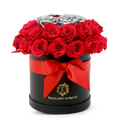 Deluxe Red & Silver Preserved Roses - Excellent Florists