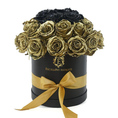 Deluxe Gold & Black Preserved Roses - Excellent Florists