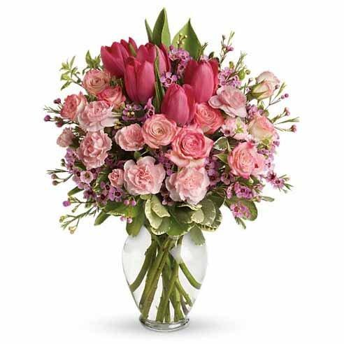 Pink Tulips & Rose - Excellent Florists