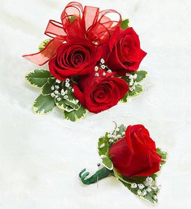 Red Rose Corsage & Boutonniere Set - Excellent Florists