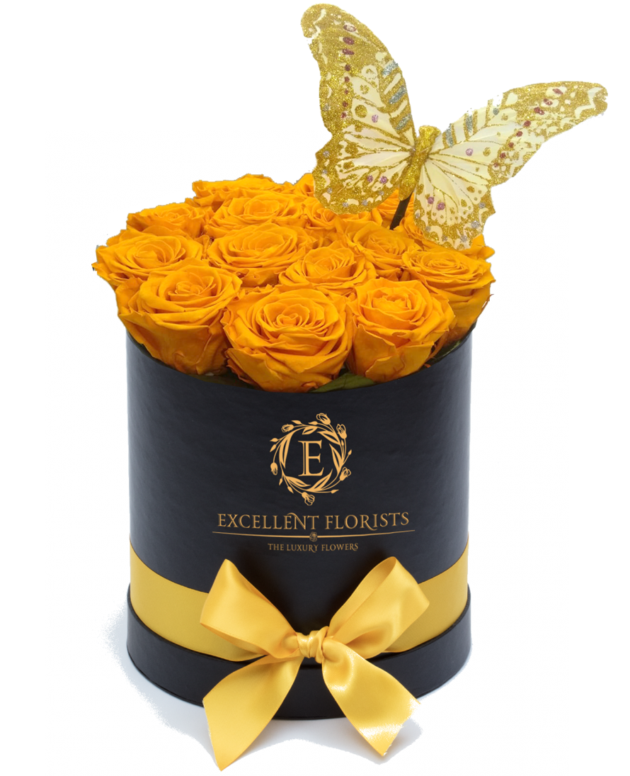 Medium Round Sun Yellow Box of Preserved Roses