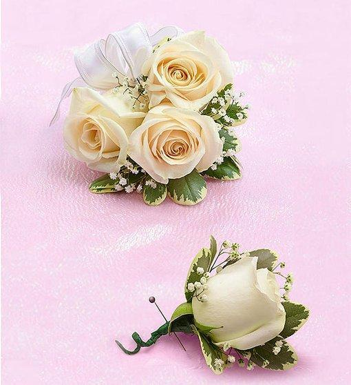 White   Rose Corsage & Boutonniere Set - Excellent Florists