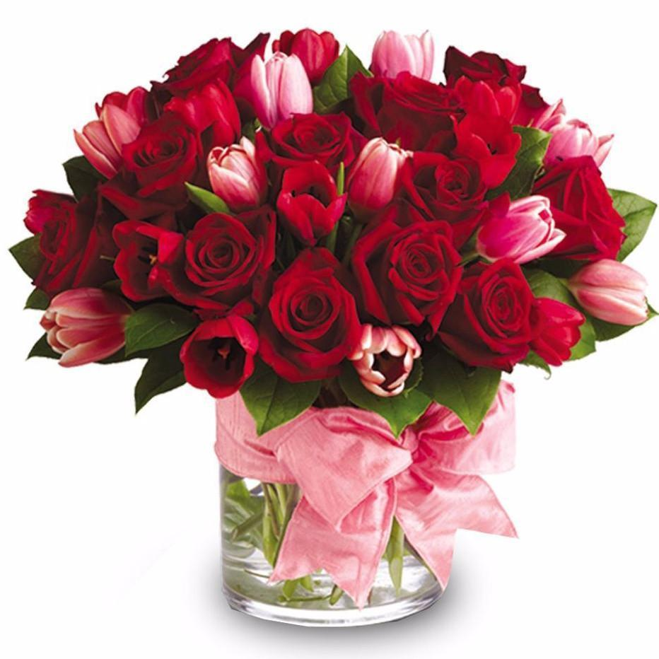Red Rose and Tulip Arrangement - Excellent Florists