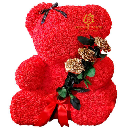 Teddy Bear 70 cm with Golden Preserved Rose Bouquet