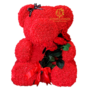 Teddy Bear 70cm - Red Preserved Rose Bouquet