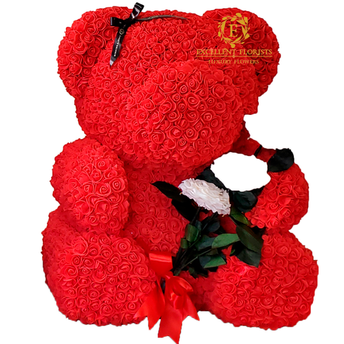 Teddy Bear 70 cm with White Preserved Rose Bouquet
