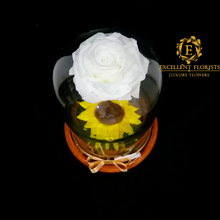 Load image into Gallery viewer, Glass Dome with Preserved Rose and Sunflower