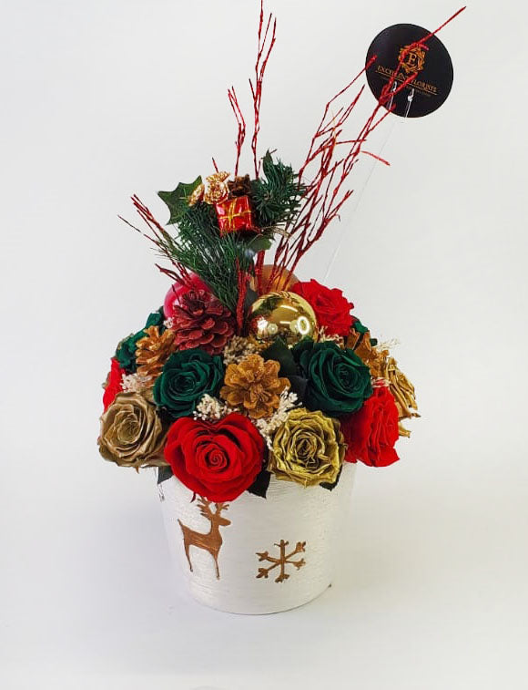 Christmas Preserved Rose Arrangement in a white vase