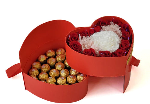 Heart Preserved Jumbo and Mini Roses with chocolates in a Two Levels Box