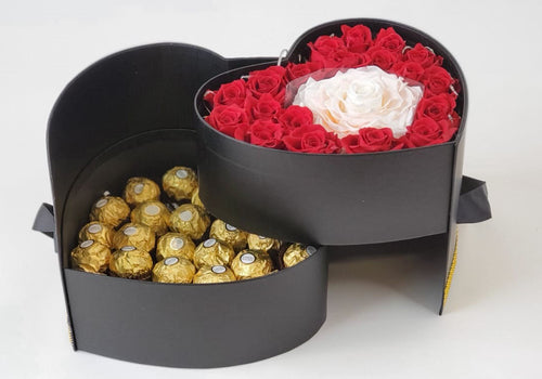 Heart Preserved Jumbo and Mini Roses 3 with chocolates in a Two Levels Box