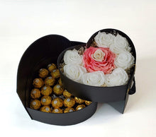 Load image into Gallery viewer, Heart Preserved Jumbo and Mini Roses 4 with chocolates in a Two Levels Box