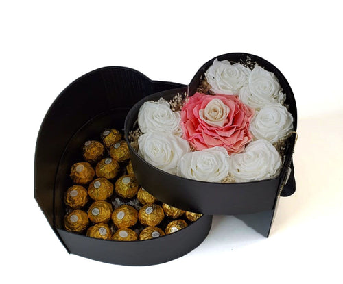 Heart Preserved Jumbo and Mini Roses 4 with chocolates in a Two Levels Box