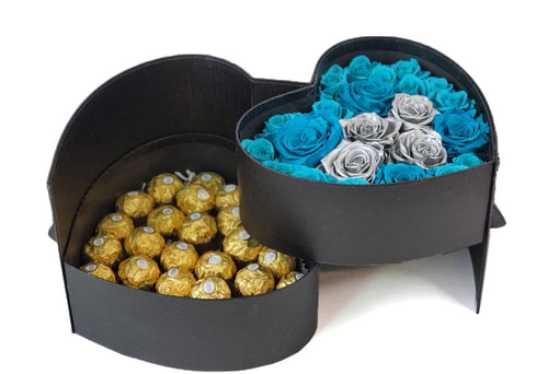 Heart Preserved Jumbo and Mini Roses 5 with chocolates in a Two Levels Box