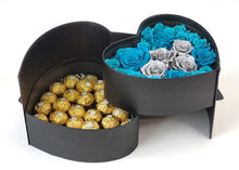 Load image into Gallery viewer, Heart Preserved Jumbo and Mini Roses 5 with chocolates in a Two Levels Box